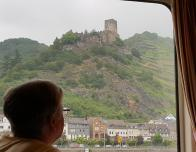 View of castle on the Rhine River, Germany.