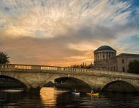 Dublin, Ireland River Liffey at dusk