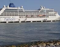 Fathom Travel's ship, the Adonia, in port