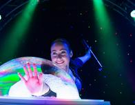 """Melody Yang performs in """"The Gazillion Bubble Show"""" in New York City."""