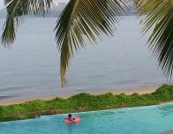 Infinity pool at the Goa Marriott overlooks the Mondovi River.