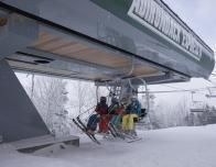 The new high speed quad lift whisks skiers up Gore Mountain in New York State.