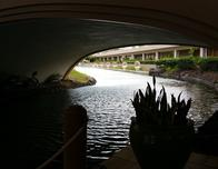 Canal boats running through Hilton Waikoloa property.