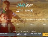 Hilton's TravelMANager Vacation Planning website for men.