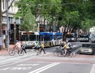 Cyclists Crossing Portland's Transit Mall