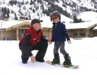 Snowbasin teaches toddlers to snowboard with Burton's double rocker boards.