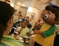 Character dining is a big part of the experience at all the parks.