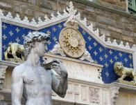 Michelangelo's David is a star at the Uffize Gallery, Florence, Italy.