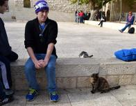 Pretending to be Afraid of the Cats in the Old City District of Jerusalem