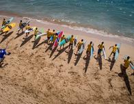 Kaanapali Beach Hotel beach full of standup paddleboarders.