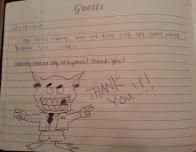 Guest Entry in Condo Guestbook at Keystone Resort, Colorado