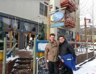 Regan and Jacob at New Moon Cafe in River Run, Keystone, Colorado