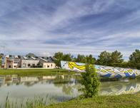 """Roy Lichtenstein has painted """"Mermaid"""" on a yacht installed at Middlebury College."""