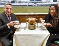 Tea with actor Jim Carter at Lord's Cricket Ground, London.