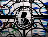 Wrought Iron artwork and stained glass at Cafe de Tacuba, Mexico City.