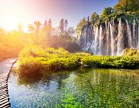 Waterfalls at sunrise at Plitvice Lakes National Park, Croatia