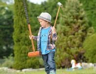 Learning to Play Croquet at New Park Manor, New Forest, Britain
