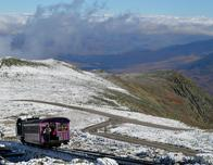Mt. Washington Cog Railway on mountain peak