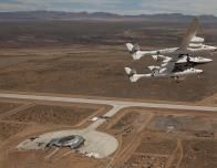 Virgin Galactic Spaceship Flies Above Spaceport America, Near White Sands.