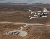 Virgin Galactic Spaceship Flies Above Spaceport America, Near White Sands.