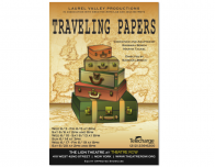 "Poster for ""Traveling Papers,"" a round the world treat playing Off Broadway in New York."