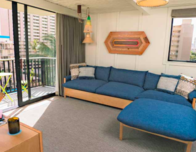 Living room of suite at Oahu's Surjack Hotel and Swim Club