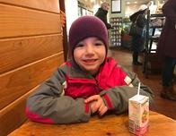Bundled up for our first lunch break out on the slopes.