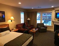 Guest rooms at Jackson Gore Resort have kitchens and fireplaces too.