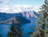 Wizard Island in the middle of Crater Lake