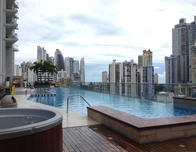 Hard Rock Megapolis pool has a view of the skyline.
