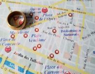 Paris map with wedding band.