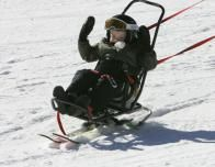 Ski Santa Fe biskier using adaptive gear.