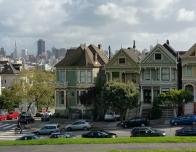 """Painted Lady"" Victorian Homes and Downtown Skyline"
