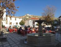 A family lunch in the main square of Albazin, Spain.