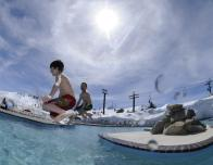 High Camp swimming pool at Squaw Alpine mountain resort.