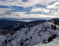View of Sierra Nevada Range and Lake Tahoe from High Camp, Squaw Valley.