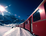 The Bernina Express racing from Switzerland to Italy