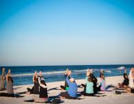 Yoga on the beach at Sandestin Hilton Resort, Florida.