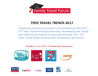 Teen Travel Trends Report 2017 is available from FamilyTravelForum.com