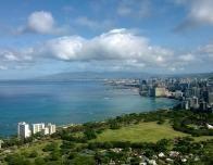 Diamond Head Summit- The Skyscrapers of Honolulu Standing Stalwart