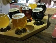 Flights of beer served at Virginia Beer Company, Williamsburg, VA