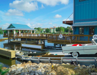 View of Disney Springs Boathouse with Amphicars.