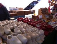 Wooden Shoes for Sale in a Vendor's Stall at the Cheese Market