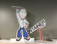 Zappos CEO Tony Hsieh paper cutout is among the lobby's treasures.