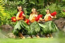 Hula dancers at a O'ahu ceremony celebrate Hawaii's culture.