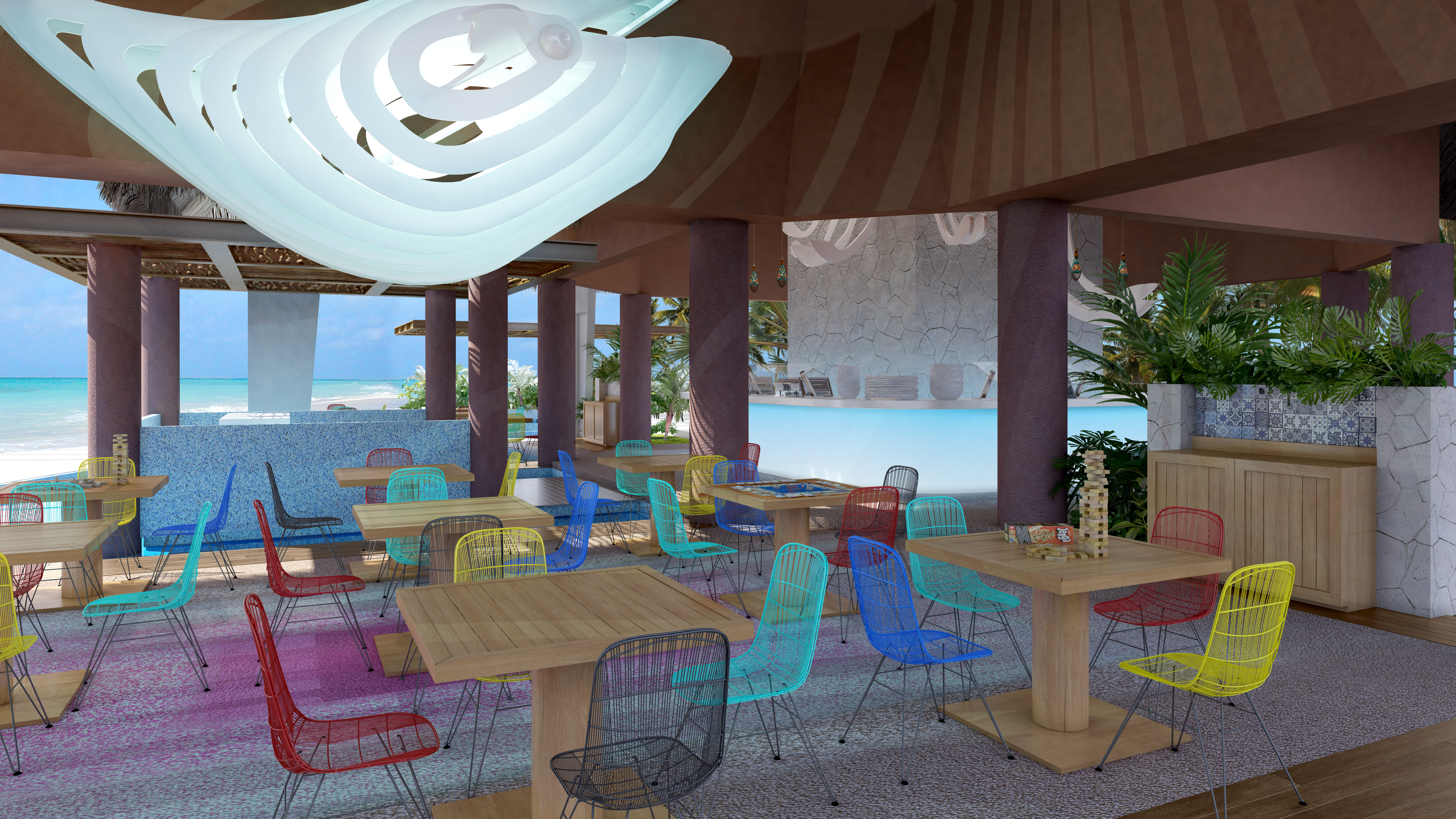 This Rendering Of The Kids Buffet Shows Style New Hotel Xcaret Mexico Resort